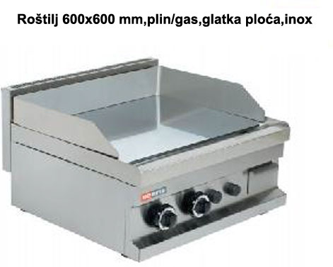 ROŠTILJ PL. 60x60 GLATKA PLOČA PLIN/GAS