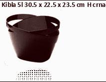 KIBLA CRNA PLASTIČNA ZA 1-2 BOCE 30,5X22,5X23,5H PVC-V 5 LTR