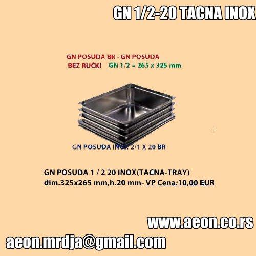 GN POSUDA 1 - 2 20 INOX TACNA-TRAY dim.325x265 mm,h.20 mm