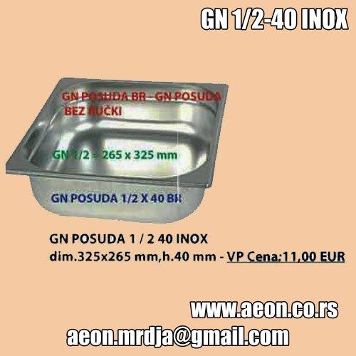 GN POSUDA 1- 2 40 INOX dim.325x265 mm,h.40 mm