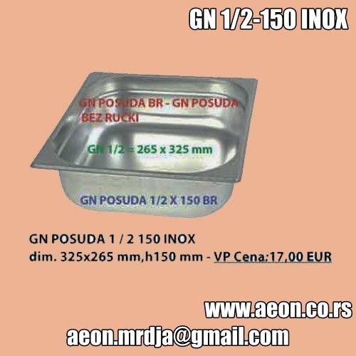 GN POSUDA 1/2-150 INOX dim. 325x265 mm,h150 mm