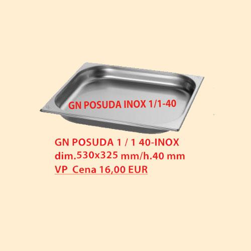 GN POSUDA 1/1 40 INOX dim.530x325 mm/h.40 mm
