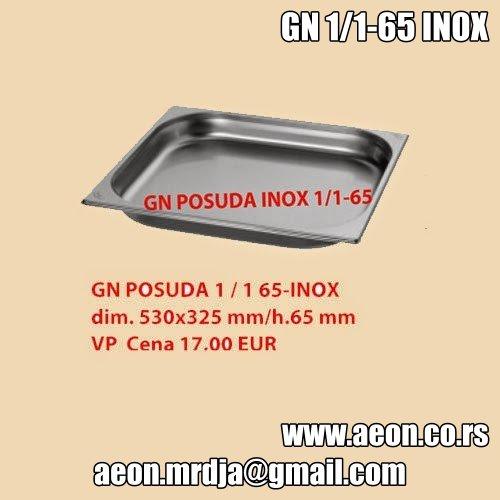 GN  POSUDA 1/1 65-INOX dim. 530x325 mm/h.65 mm