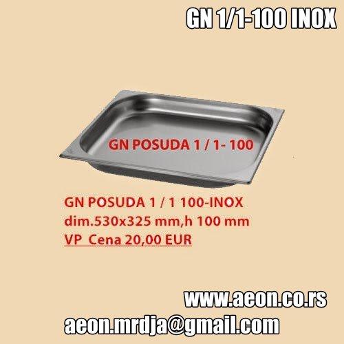 GN POSUDA 1/1 100-INOX dim.530x325 mm,h 100 mm