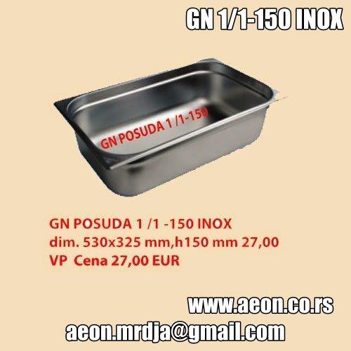 GN POSUDA 1/1-150-INOX dim. 530x325 mm,h150 mm