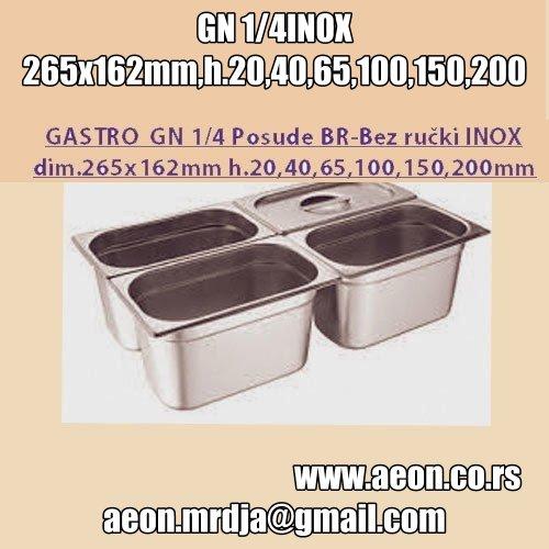 GASTRO  GN 1/4 Posude BR-Bez ručki INOX ,dim.265x162mm h.20,40,65,100,150,200mm