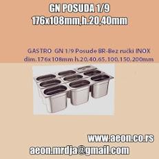 GASTRO GN 1/9 Posude BR-Bez ručki INOX dim.176x108mm h.20.100mm