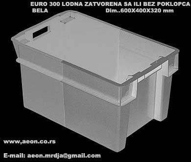 Lodna plastična sa poklopcem 600mmx400mm h.320mm uklapajuća EURO300