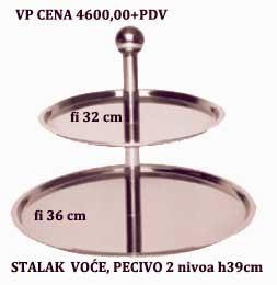 Stalak voće pecivo 2 nivoa fi36cm,fi32cm,h-39cm INOX
