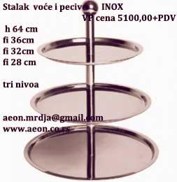Stalak voće pecivo 3 nivoa Fi36cm,fi32cm,fi28cm,h.64cm INOX