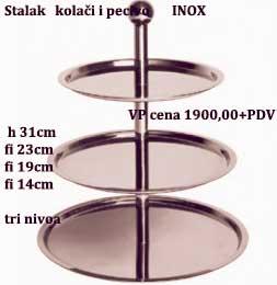 Stalak kolači pecivo 3 nivoa fi23cm,fi19cm,fi14cm,h31cm INOX