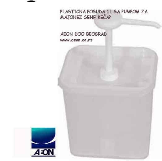 PLASTIČNA POSUDA 1L SA PUMPOM MAJONEZ SENF KEČAP www.aeon.co.rs